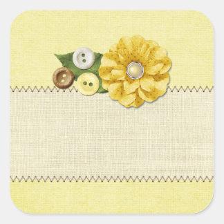 Adesivo Quadrado Botões & flor Sewing amarelos da casa da quinta do