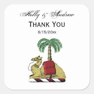 Adesivo Quadrado Brasão heráldica da cor da palmeira do camelo