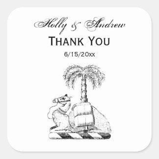 Adesivo Quadrado Brasão heráldica formal da palmeira do camelo