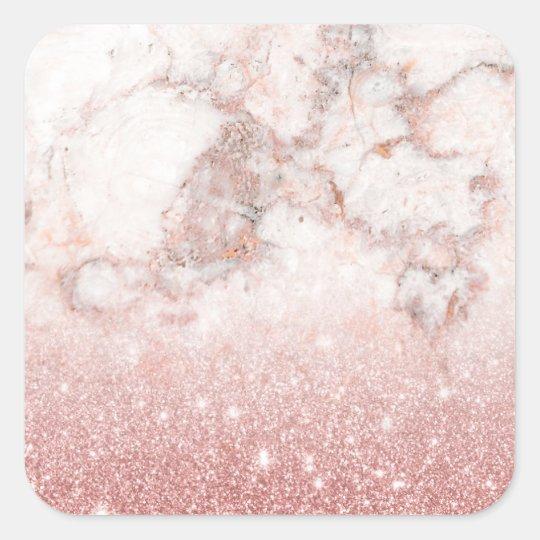 Adesivo Quadrado Brilho cor-de-rosa Ombre de mármore branco do ouro