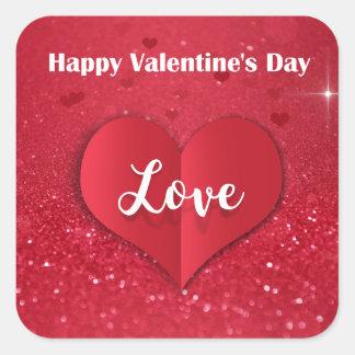 Adesivo Quadrado Brilho de papel vermelho do coração do dia dos