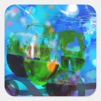 Adesivo Quadrado Brindando vidros e notas da música
