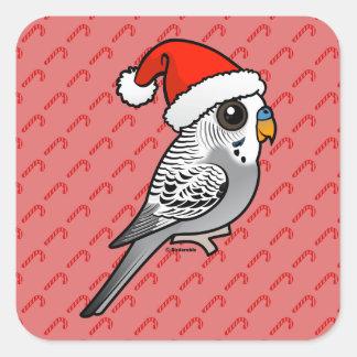 Adesivo Quadrado Budgie cinzento Papai Noel