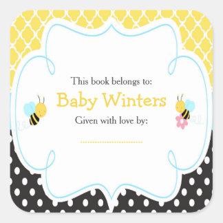 Adesivo Quadrado Bumble o Bookplate amarelo e preto da abelha do