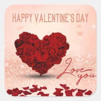 Adesivo Quadrado Buquê cor-de-rosa do coração do dia dos namorados