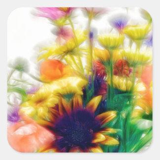 Adesivo Quadrado Buquê do Wildflower do verão