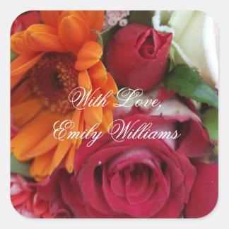 Adesivo Quadrado Buquê floral das rosas vermelhas da flor da