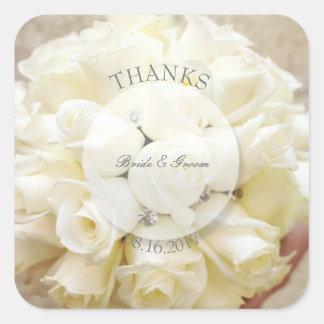 Adesivo Quadrado Buquê nupcial branco da flor do casamento