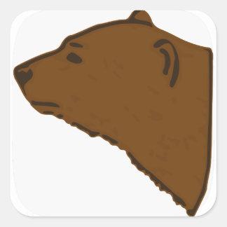 Adesivo Quadrado Cabeça do urso