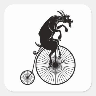 Adesivo Quadrado Cabra que monta uma bicicleta do Farthing da moeda