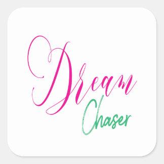 Adesivo Quadrado Caçador do rosa quente & do sonho do roteiro de