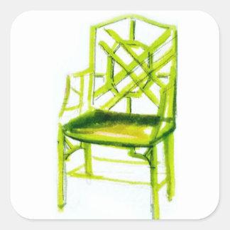 Adesivo Quadrado cadeira do chinoiserie para o cartão do lugar