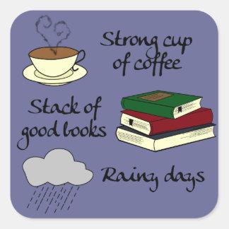 Adesivo Quadrado Café, livros & chuva - mude a cor