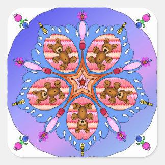 Adesivo Quadrado Caleidoscópio dos ursos e das abelhas