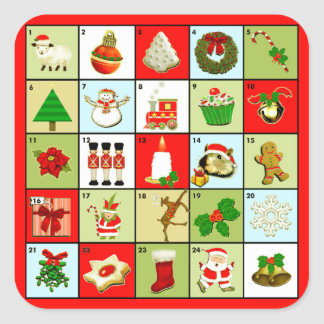 Adesivo Quadrado Calendário do advento do Natal