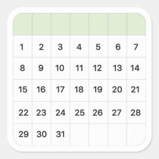 Adesivo Quadrado Calendário mensal da hortelã