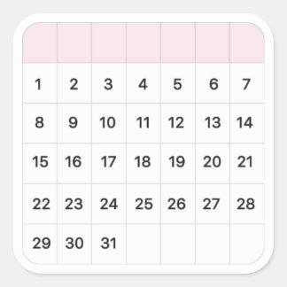 Adesivo Quadrado Calendário mensal de Floss feericamente
