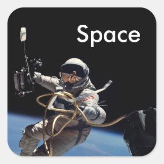 Adesivo Quadrado Caminhada do espaço do astronauta
