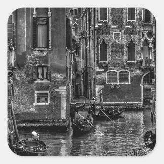 Adesivo Quadrado Canal do barco da gôndola de Veneza Italia