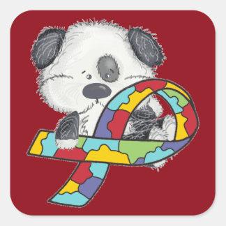 Adesivo Quadrado Cão com a fita da consciência do autismo