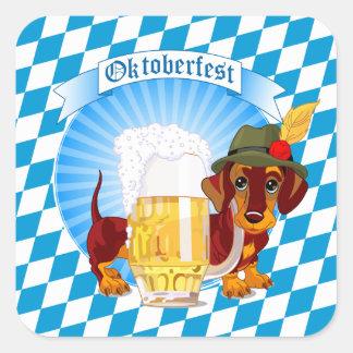 Adesivo Quadrado Cão da cerveja de Oktoberfest