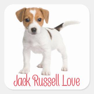 Adesivo Quadrado Cão de filhote de cachorro de Jack Russell Terrier