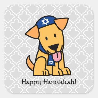 Adesivo Quadrado Cão de filhote de cachorro judaico de Hanukkah
