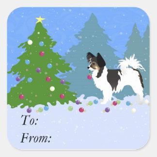 Adesivo Quadrado Cão de Papillon que decora a árvore de Natal na