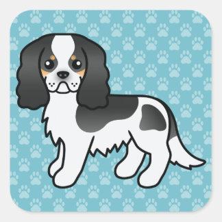 Adesivo Quadrado Cão descuidado Tricolor dos desenhos animados do