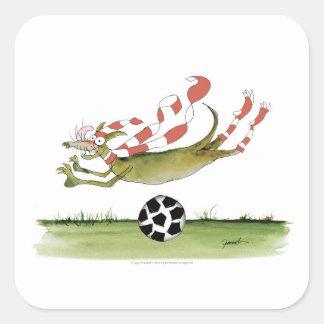 Adesivo Quadrado cão do futebol dos vermelhos