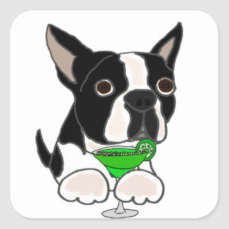 Adesivo Quadrado Cão engraçado de Boston Terrier que bebe Margarita