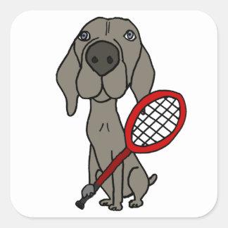 Adesivo Quadrado Cão engraçado de Weimaraner que joga o tênis