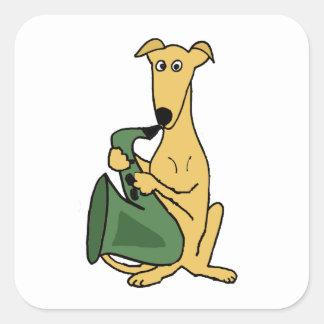 Adesivo Quadrado Cão engraçado do galgo que joga a arte do saxofone