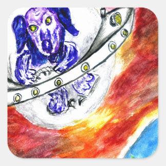 Adesivo Quadrado Cão estrangeiro na arte do espaço