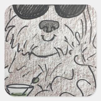 Adesivo Quadrado Cão martini de Havanese