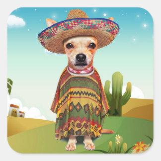 Adesivo Quadrado Cão mexicano, chihuahua
