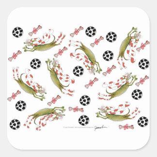 Adesivo Quadrado cão vermelho do futebol, bolas dos ossos