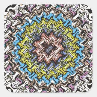 Adesivo Quadrado Caos concêntrico colorido