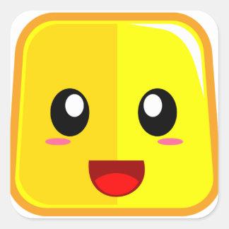 Adesivo Quadrado Cara de sorriso com boca aberta Emoji engraçado