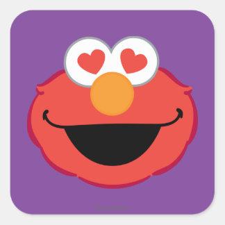 Adesivo Quadrado Cara de sorriso de Elmo com olhos Coração-Dados