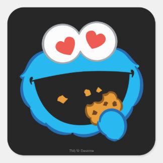 Adesivo Quadrado Cara de sorriso do biscoito com olhos