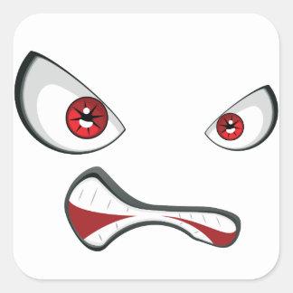 Adesivo Quadrado Cara má com olhos 2 do vermelho