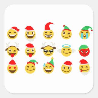 Adesivo Quadrado caras felizes do emoji do xmas