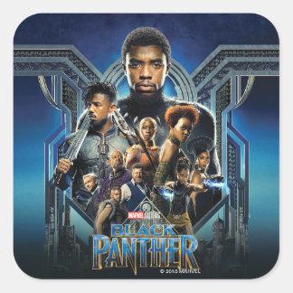 Adesivo Quadrado Caráteres da pantera preta   sobre Wakanda