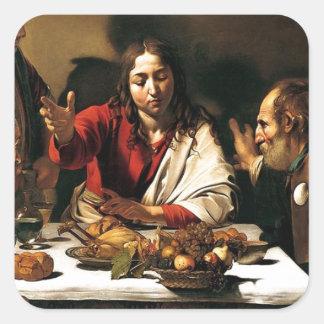 Adesivo Quadrado Caravaggio - ceia em Emmaus - pintura clássica