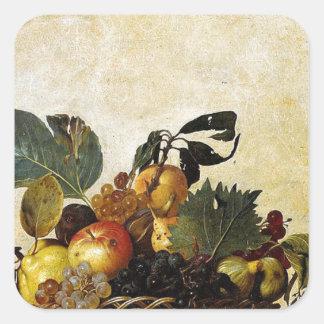 Adesivo Quadrado Caravaggio - cesta da fruta - trabalhos de arte