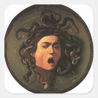 Adesivo Quadrado Caravaggio - Medusa - trabalhos de arte italianos