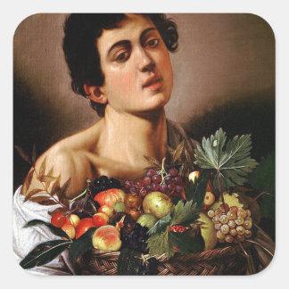 Adesivo Quadrado Caravaggio - menino com uma cesta de trabalhos de