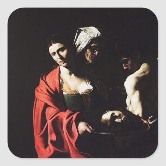 Adesivo Quadrado Caravaggio - Salome - trabalhos de arte barrocos