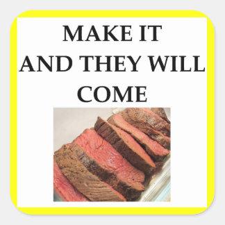 Adesivo Quadrado carne assada